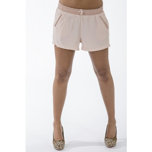 Halfleren shortje van Jacky Luxury  in taupe.