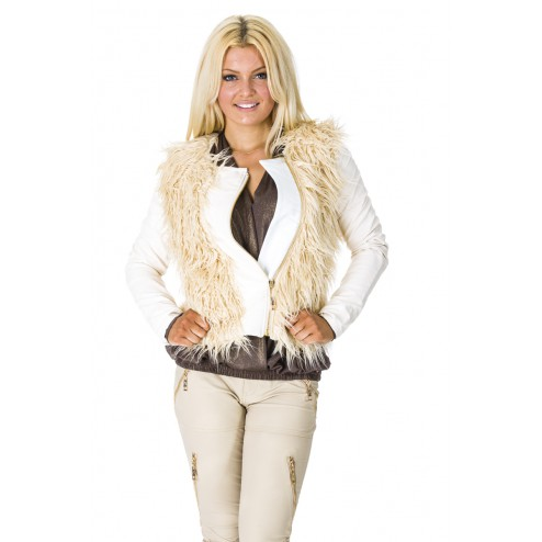 Molly jacket met met bont in ecru