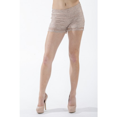 Shortje van Jacky Luxury in taupe kant.
