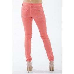 Orange-koraal jeans met wit stiksel van Jacky Luxury
