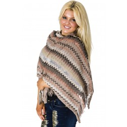 Poncho sjaal van B-loved in taupe