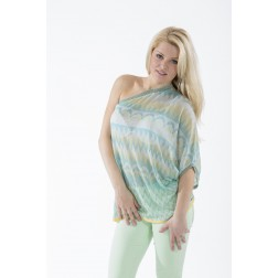 One shoulder top in Missoni print van Miss Money Money.