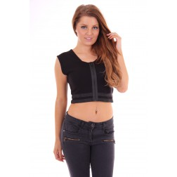 Nickelson Croptop zipper black