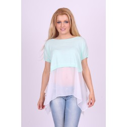 Relish top in mint met witte voile