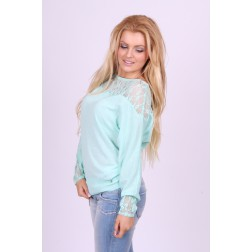 Relish top in mint met kant