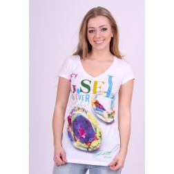 G,sel shirt in wit, G.SEL gemstones