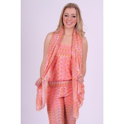 Jacky Luxury sjaal in Missoniprint, coral