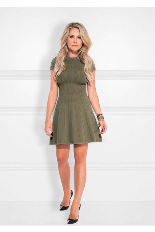 Nikkie Jessie dress in geweven patroon - olive
