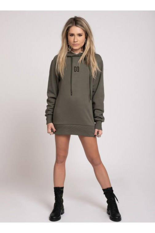 Nikkie Round Back Logo Hoodie in night forest