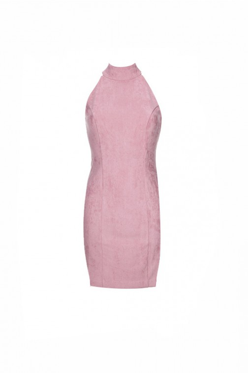 4Lyam Mia dress is roze suede