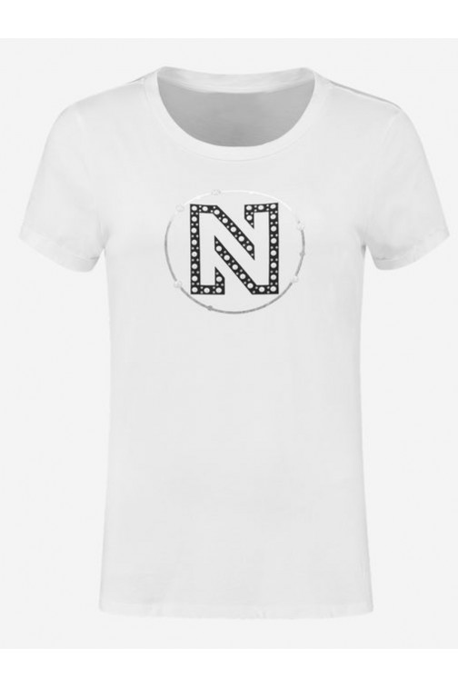 Nikkie round pearls t-shirt in wit