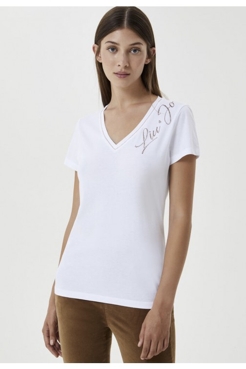 LiuJo v hals t-shirt met strass logo in wit