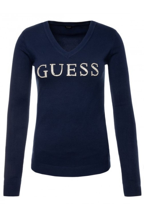 Guess Emilia jumper - strass logo in zwart
