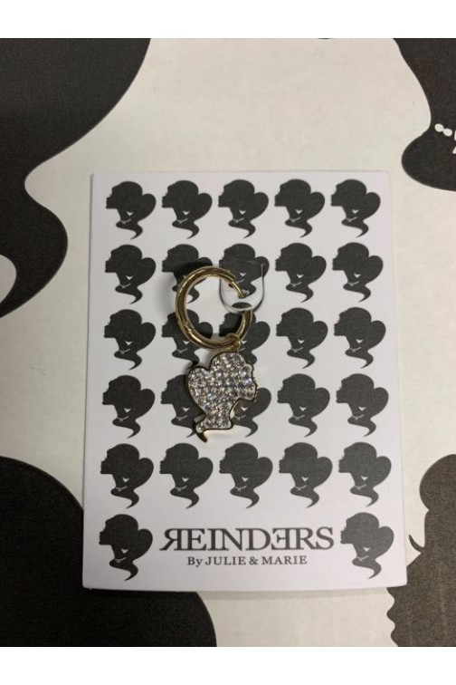 Reinders onepiece headlogo earring diamonds in goud