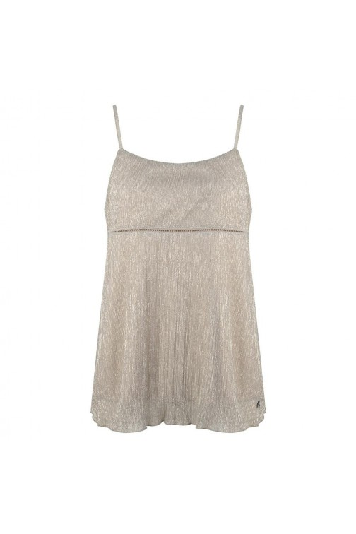 Jacky Luxury top in poeder - zilver lurex