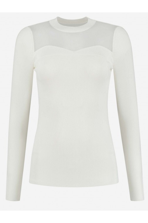 Nikkie Katy top met transparante hals in cream