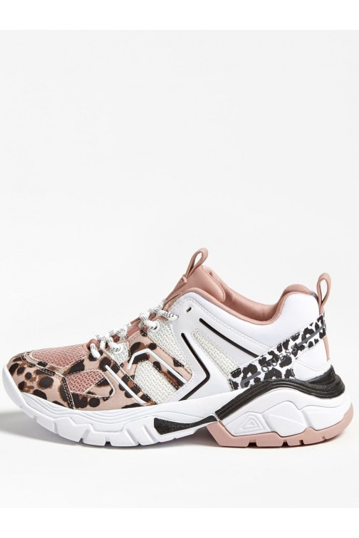 Guess Marlie sneakers in pink leopard
