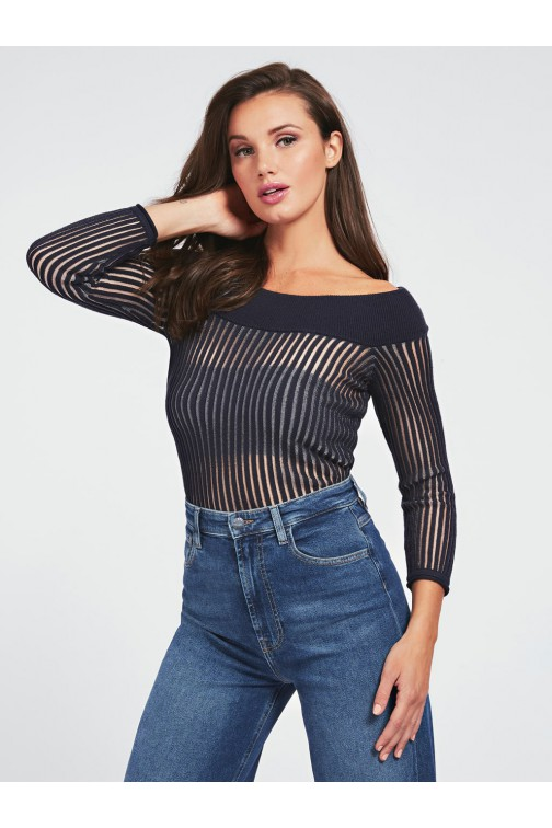 Guess Greta trui offshoulder in navy