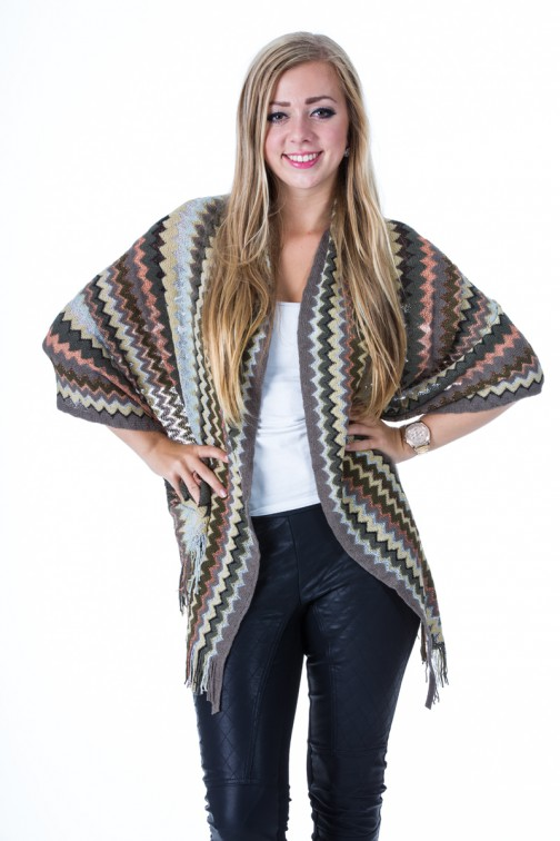 sjaal met franjes in Missoni print in grey brown