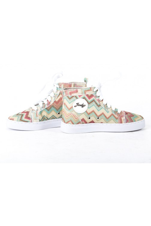 Sneakers van Jacky Luxury in Missoni-print met groen en goud.