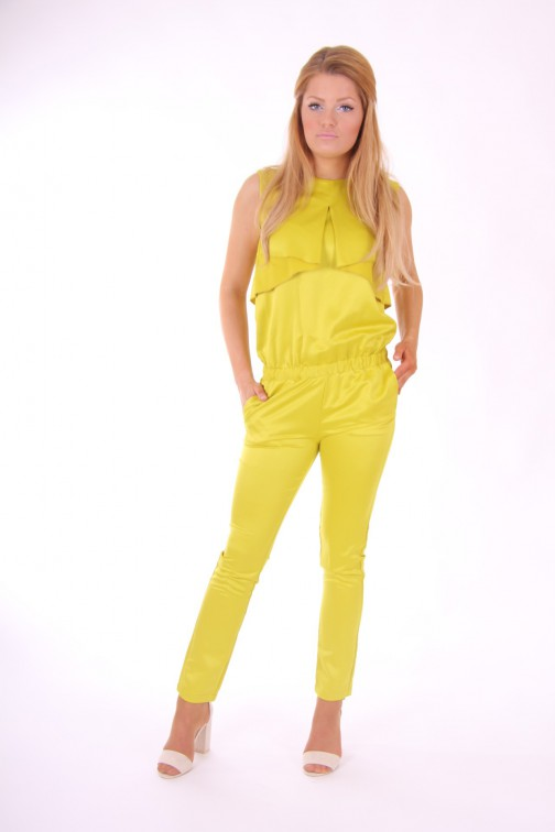 Josh V jumpsuit met open rug in lime: Athena