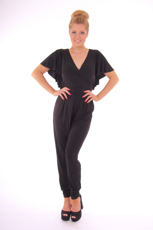 Relish jumpsuit met ruche in zwart: Wise