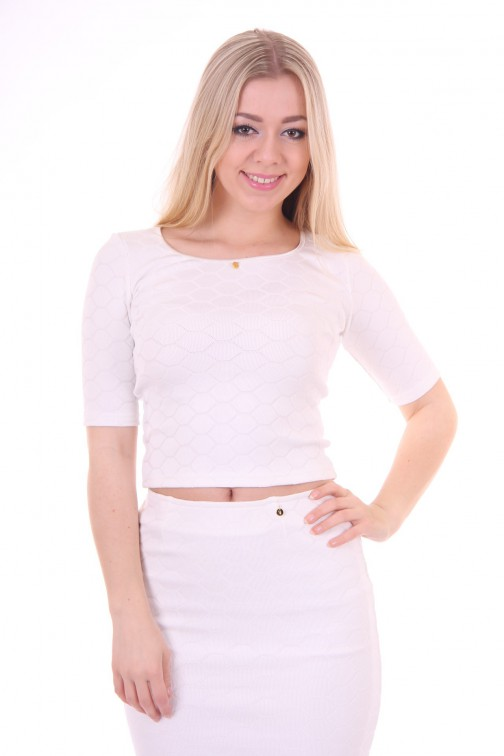 IGiven cropped top in wit: Envy