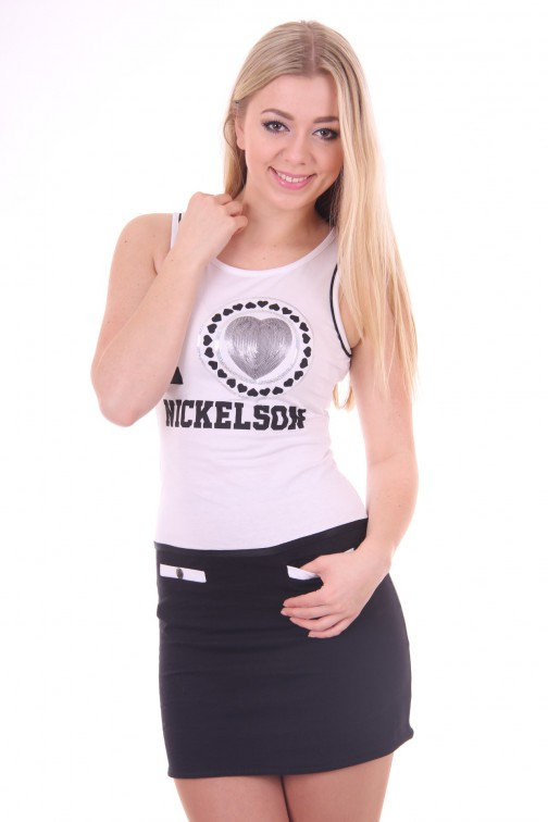 Nickelson Jucy dress in zwart - wit