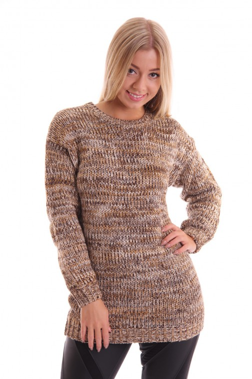 Oversized trui in creme kleurtjes, Big Jumper