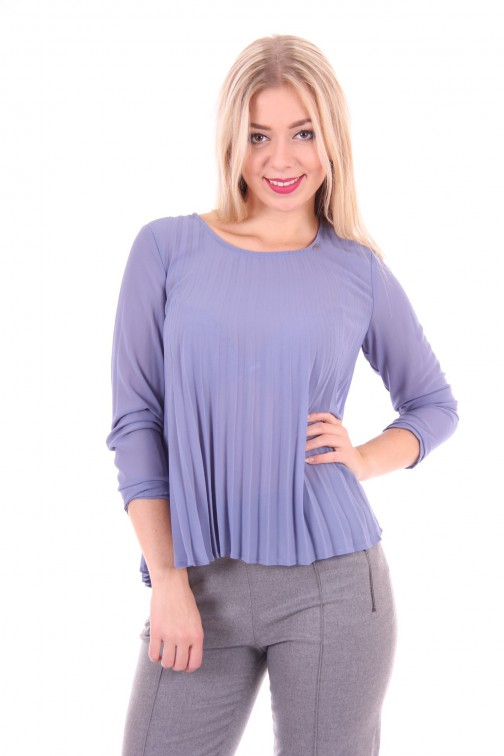 Gaudi blouse in plissé, soft blue