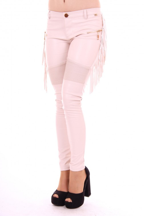 Josh V Xandra leather fringe pants nude