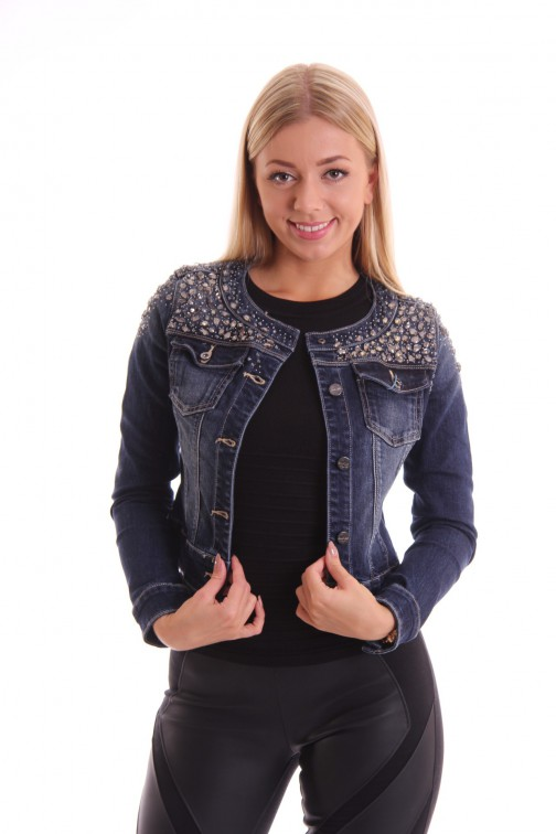 Fracomina denim jacket crystals