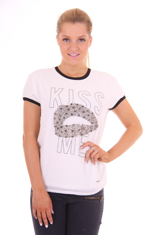 Gaudi shirt in wit: KISS ME