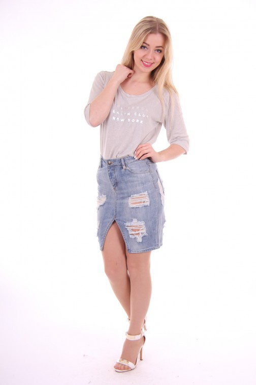 Silvian Heach ripped denim skirt