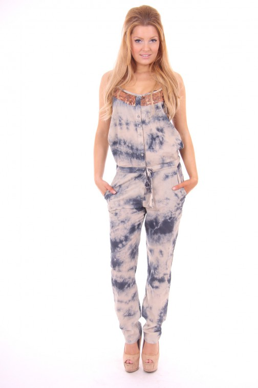 By Danie jumpsuit, Tye Dye in faded bleu