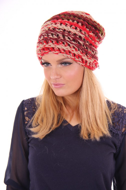 Starling knitted beanie red melange