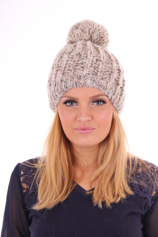 Starling knitted pompom beanie taupe