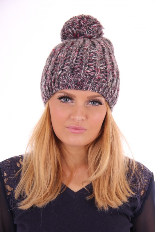 Starling knitted pompom beanie grey&red