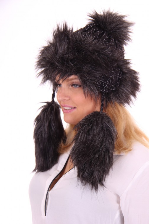 Starling flaphat, faux-fur in antracite