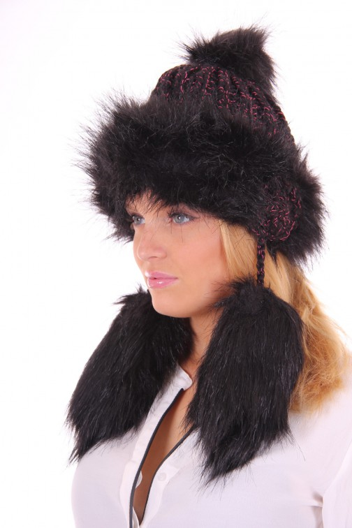 Starling flaphat, faux-fur in black