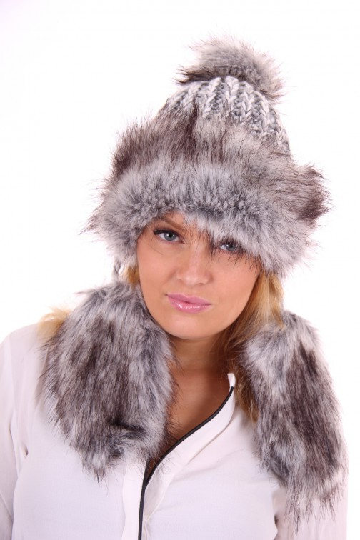 Starling flaphat, faux-fur in grey