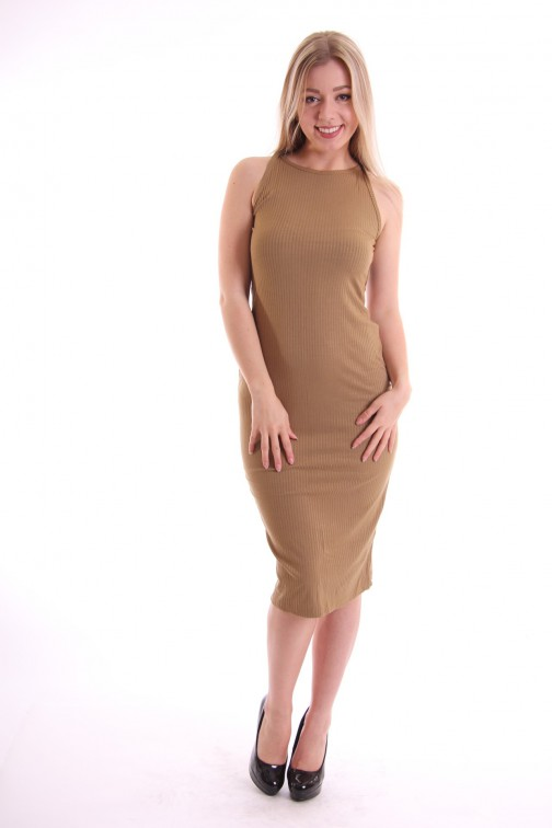 Sexy back maxidress in khaki