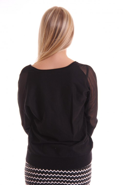 Fracomina pullover met transparante schouders