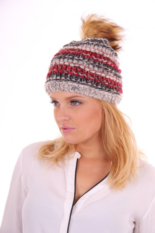 Starling hat met bontbol in red grey: Goldi