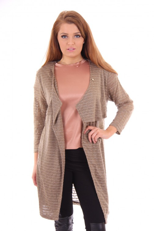 Given knitted cardigan in taupe