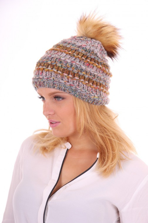 Starling hat met bontbol in army grey: Goldi