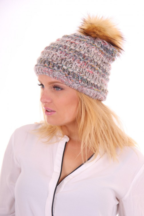 Starling hat met bontbol in anthracite grey: Goldi