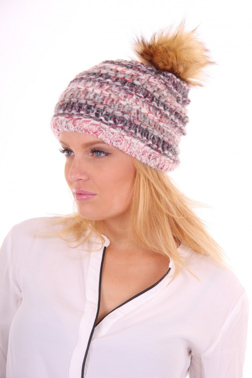 Starling hat met bontbol in grey-cream: Olivia