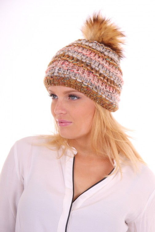 Starling hat met bontbol in grey-hazel: Goldi