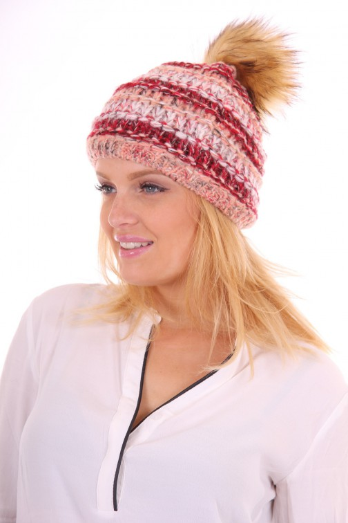 Starling hat met bontbol in red-pink: Goldi